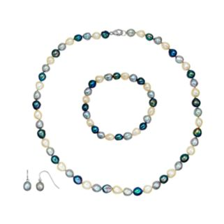 Freshwater by HONORA Dyed Freshwater Cultured Pearl Sterling Silver Necklace, Bracelet & Drop Earring Set