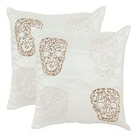 Safavieh 2-piece Quatre Skull Throw Pillow Set