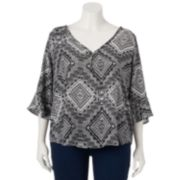 About A Girl Print Bell Sleeve 3-Button Top - Juniors' Plus