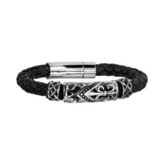 Stainless Steel Braided Leather Fleur-de-Lis Bracelet - Men