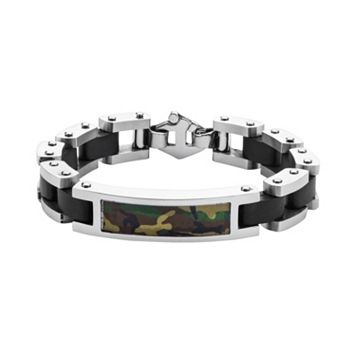 Two Tone Stainless Steel Camouflage Bracelet - Men
