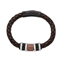 Tri Tone Stainless Steel Leather Braided Bracelet - Men
