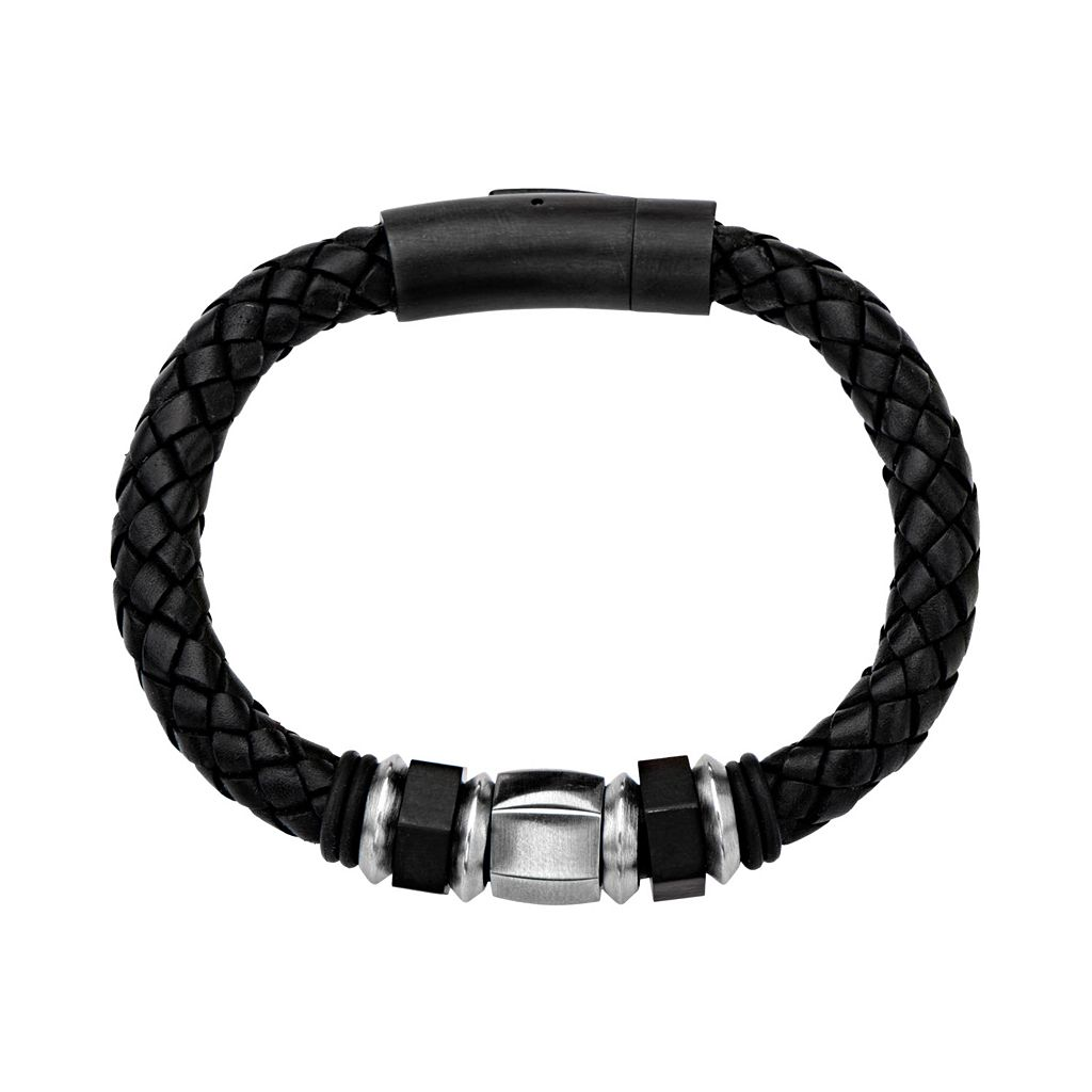 Two Tone Stainless Steel Beaded & Braided Leather Bracelet - Men