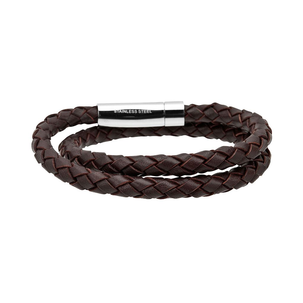 Stainless Steel Braided Leather Bracelet - Men