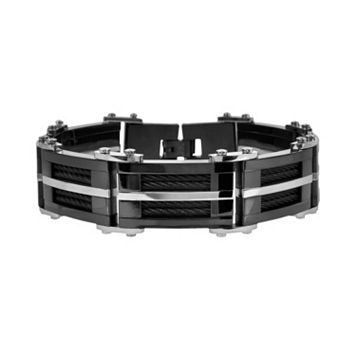 Two Tone Stainless Steel Cable Bracelet - Men