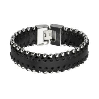 Stainless Steel Leather Bracelet - Men