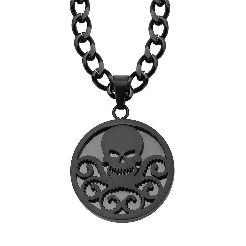 Hydra Black Ion-Plated Stainless Steel Pendant Necklace - Men