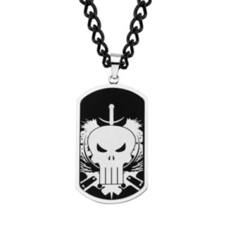 The Punisher Stainless Steel Skull Dog Tag Necklace - Men