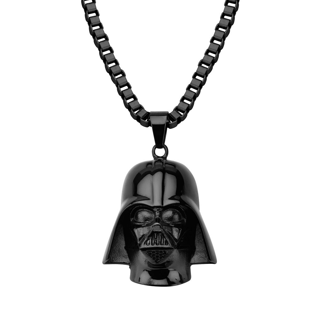 Star Wars Black Ion-Plated Stainless Steel 3D Darth Vader Pendant Necklace - Men