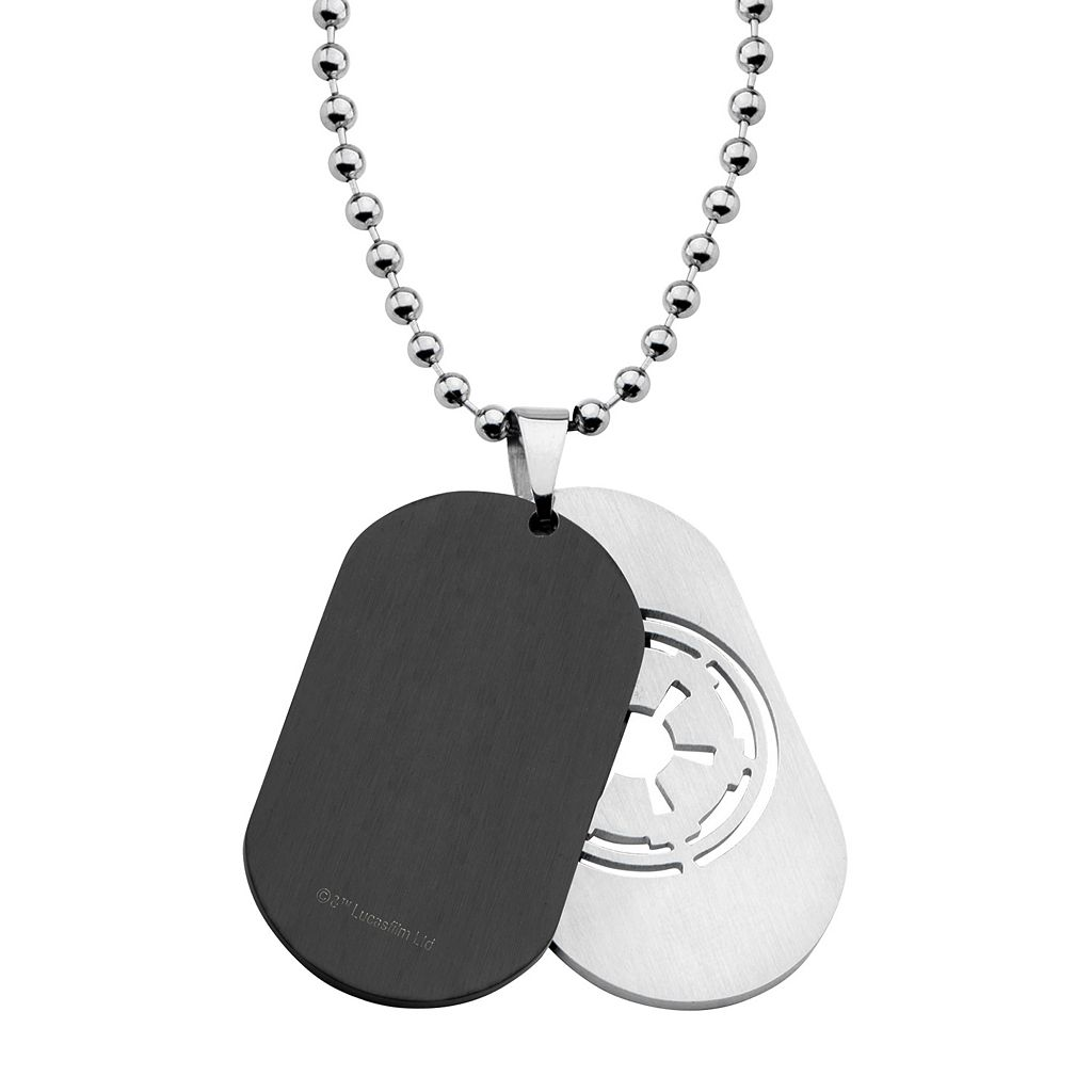 Star Wars Imperial Symbol Stainless Steel Two Tone Dog Tag Necklace - Men