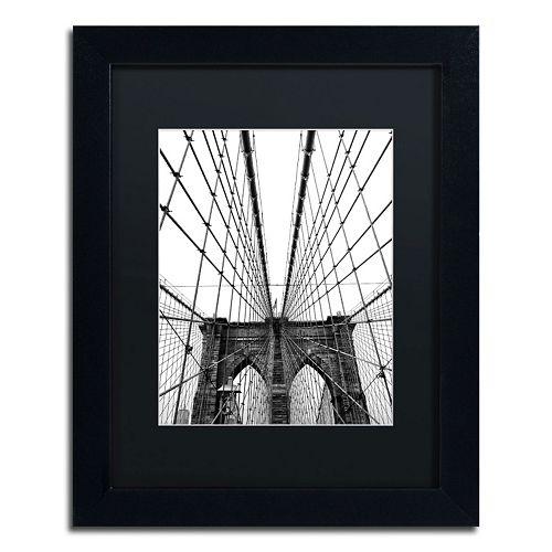 "Trademark Fine Art ""Brooklyn Bridge 3"" Framed Canvas Wall Art"