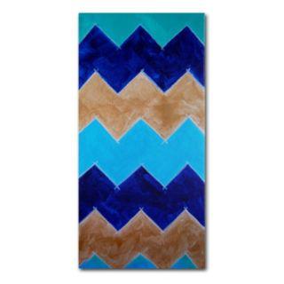 "Trademark Fine Art ""Blue and Gold Chevron"" Canvas Wall Art"