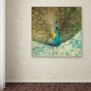Trademark Fine Art 'Teal Peacock on Gold' Canvas Wall Art by Danhui Nai