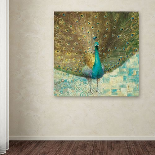 """Trademark Fine Art """"Teal Peacock on Gold"""" Canvas Wall Art by Danhui Nai"""