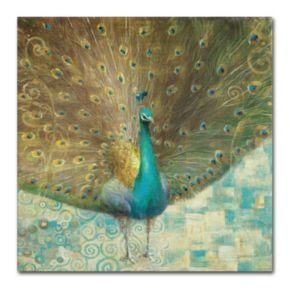 "Trademark Fine Art ""Teal Peacock on Gold"" Canvas Wall Art by Danhui Nai"