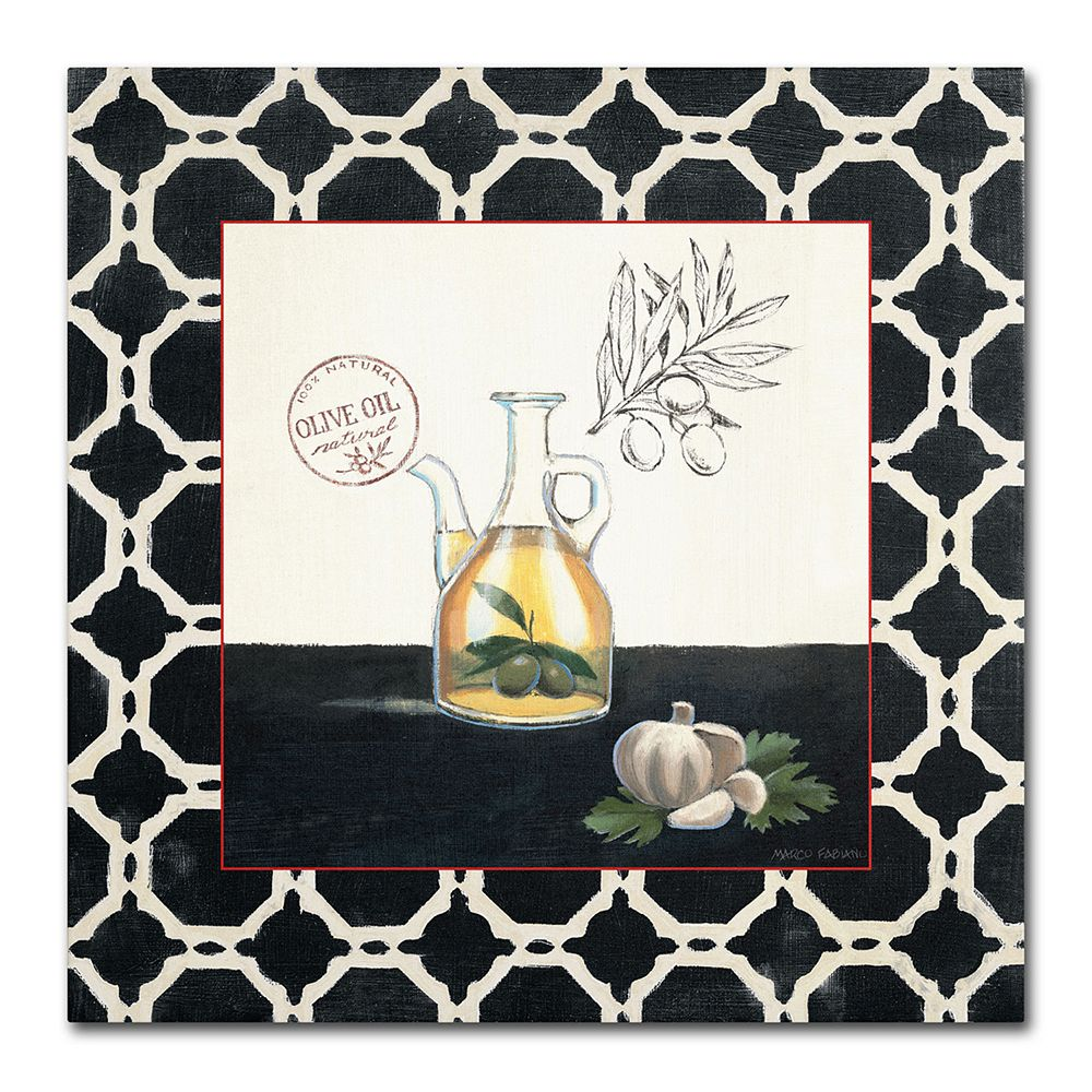 "Trademark Fine Art ""Olive Oil and Garlic"" Canvas Wall Art by Marco Fabiano"