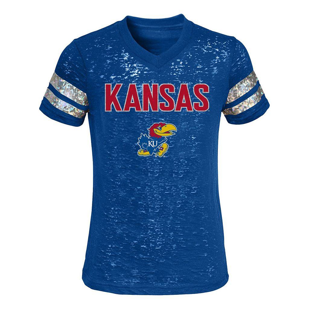 Girls 4-6x Kansas Jayhawks Opal Burnout Tee