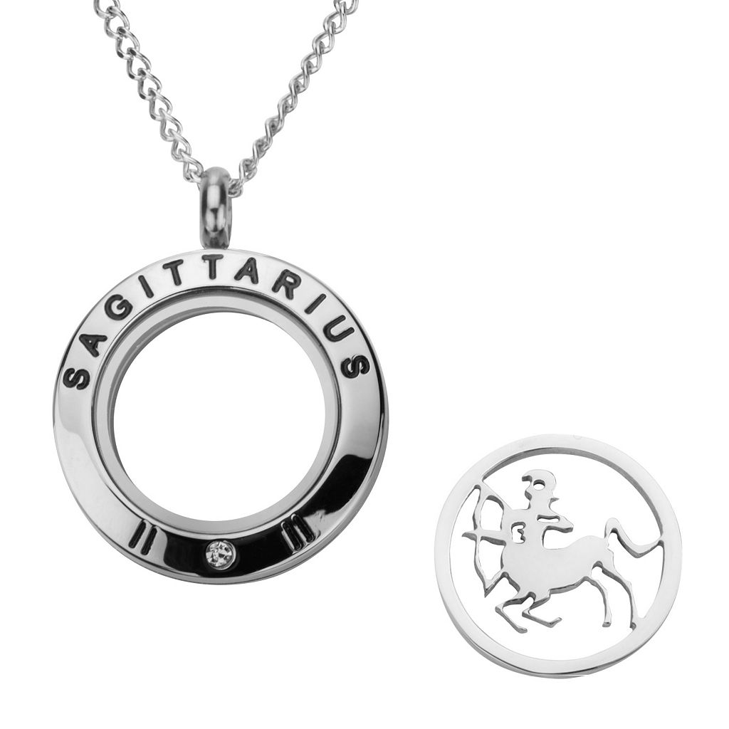 Cubic Zirconia Stainless Steel Zodiac Sign Locket Necklace