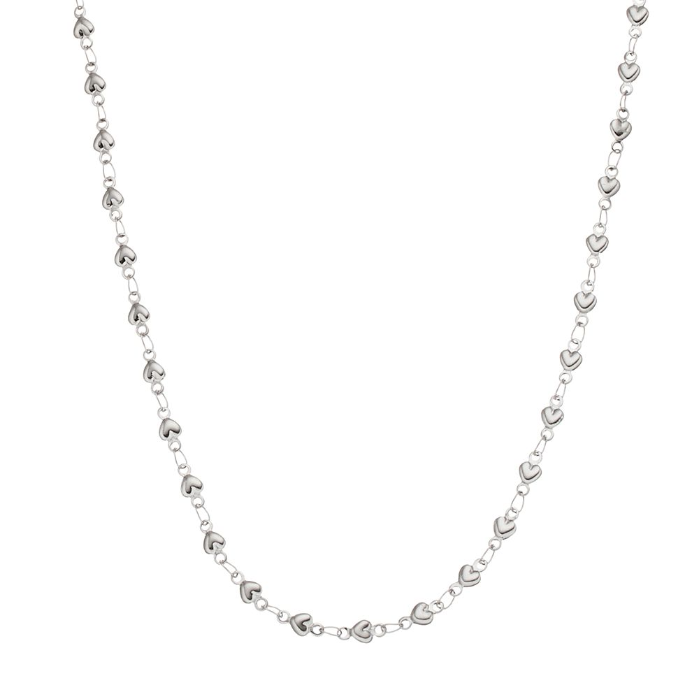 Blue La Rue Stainless Steel Heart Link Chain Necklace