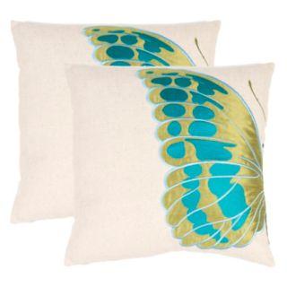 Safavieh 2-piece Indra Blue Wing Throw Pillow Set