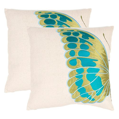 Safavieh 2-piece Indra Blue Wing Throw Pillow Set