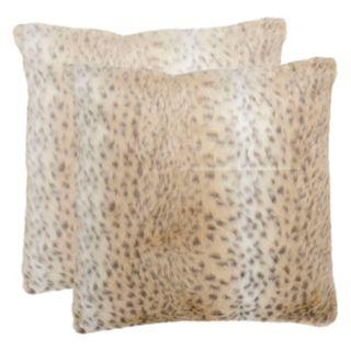 Safavieh 2-piece Faux Snow Leopard Throw Pillow Set