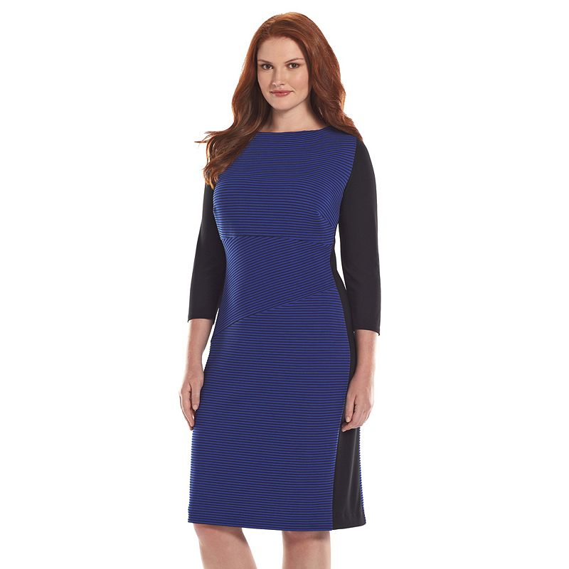 Plus Size Chaps Textured Striped Sheath Dress