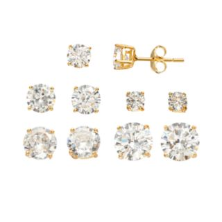 Cubic Zirconia 14k Gold Over Silver Stud Earring Set