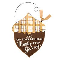 ''Full of Thanks and Giving'' Wooden Acorn Wall Decor