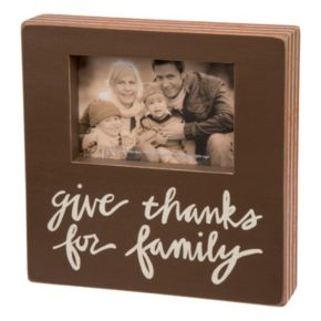 """""""Give Thanks For Family"""" 4"""" x 6"""" Wood Frame"""