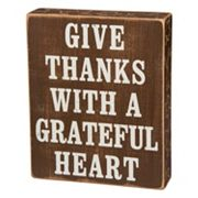 ''Give Thanks Grateful Heart'' Wooden Box Sign Art