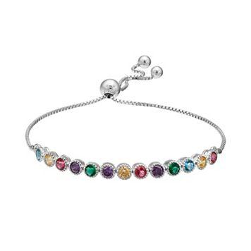 Cubic Zirconia Multicolored Sterling Silver Lariat Bracelet