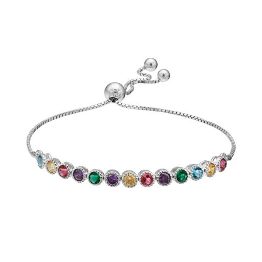 Cubic Zirconia Multicolored Sterling Silver Lariat Bracelet