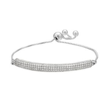 Cubic Zirconia Sterling Silver Pave Lariat Bracelet
