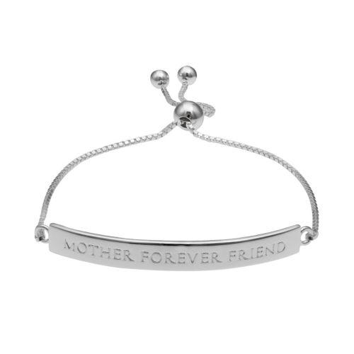 """Sterling Silver """"Mother Forever Friend"""" Bar Lariat Bracelet"""