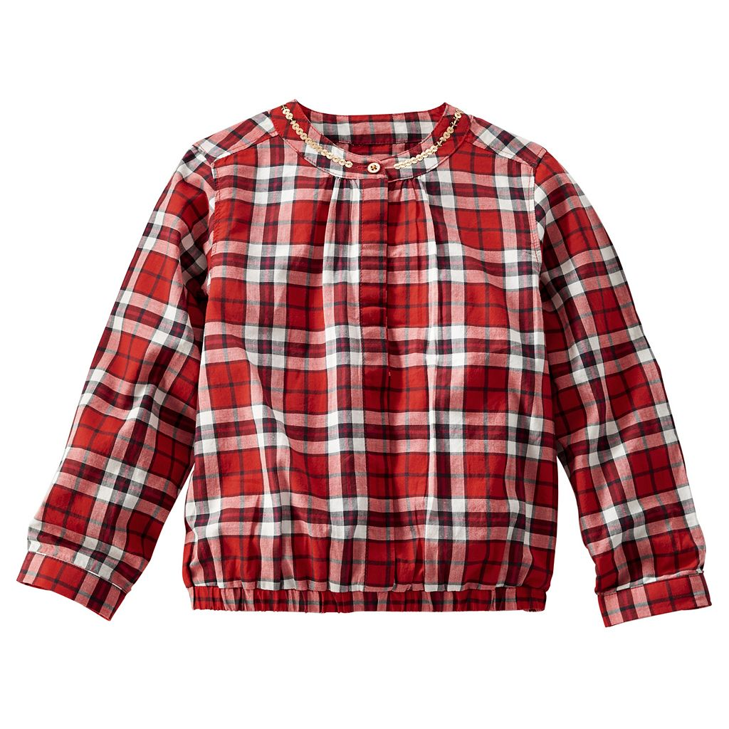 OshKosh B'gosh® Toddler Girl Embellished Plaid Poplin Top