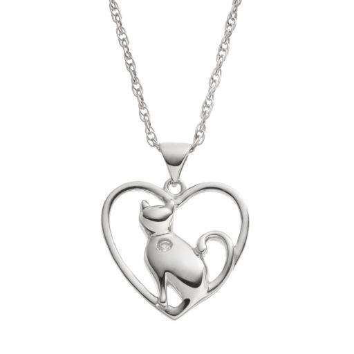 HSUS Cubic Zirconia Sterling Silver Cat & Heart Pendant Necklace