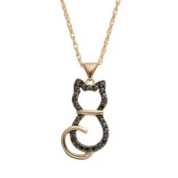 HSUS Cubic Zirconia 18k Gold Over Silver Cat Pendant Necklace