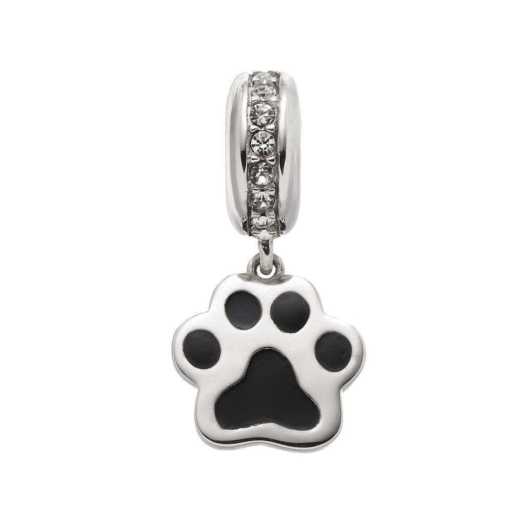 HSUS Crystal Sterling Silver Paw Print Bead