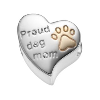 """HSUS Crystal Sterling Silver """"Proud Dog Mom"""" Heart Bead"""