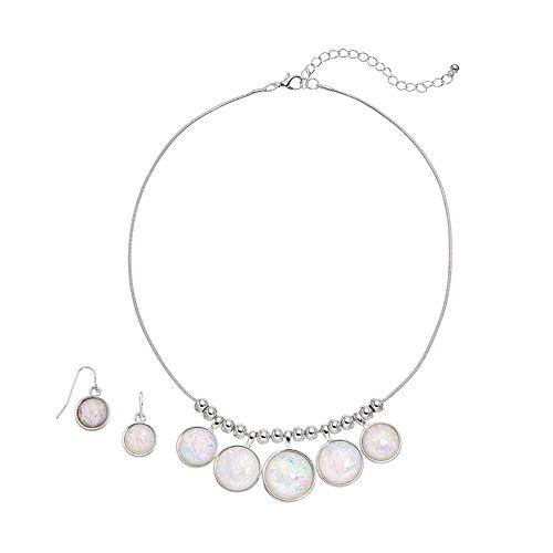 Circle Necklace & Drop Earring Set