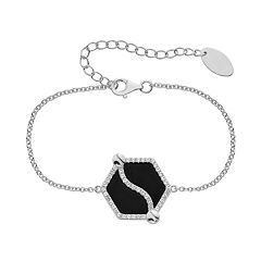 Onyx & Lab-Created White Sapphire Sterling Silver Hexagon Bracelet
