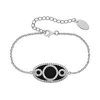 Onyx & Lab-Created White Sapphire Sterling Silver Oval Link & Triple Circle Bracelet