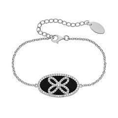 Onyx & Lab-Created White Sapphire Sterling Silver Oval Link Bracelet