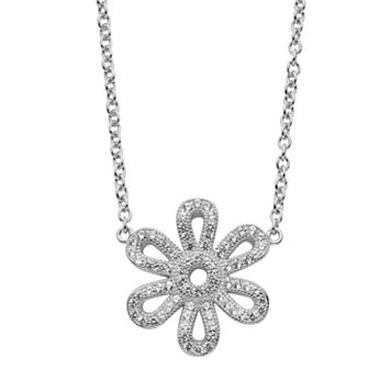 Lab-Created White Sapphire Sterling Silver Flower Necklace