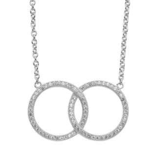 Lab-Created White Sapphire Sterling Silver Interlocking Circle Necklace