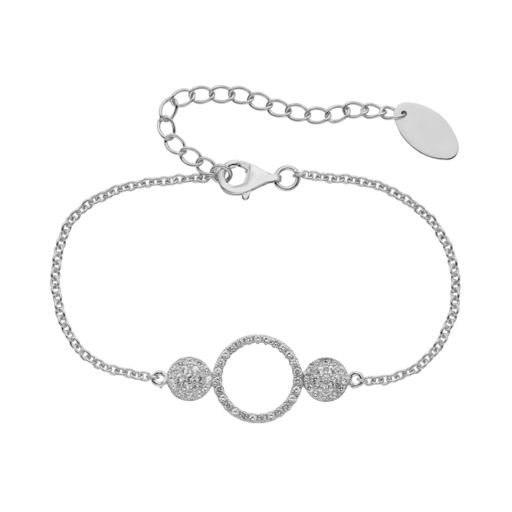 Lab-Created White Sapphire Sterling Silver Triple Circle Bracelet