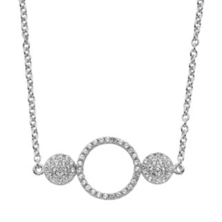 Lab-Created White Sapphire Sterling Silver Triple Circle Necklace