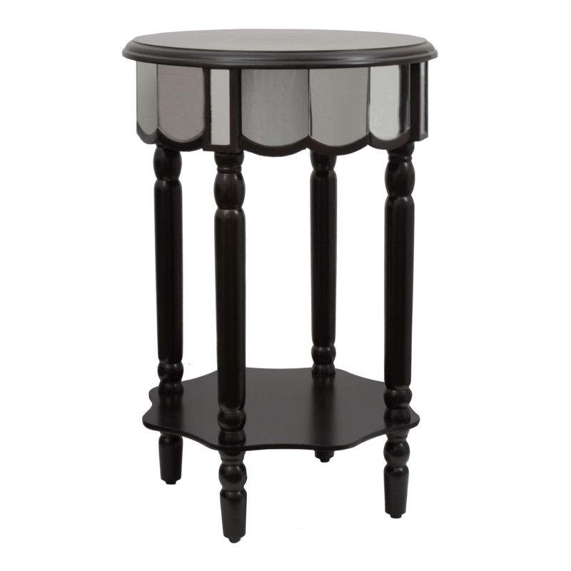 Decor Therapy Mirrored Round End Table, Black