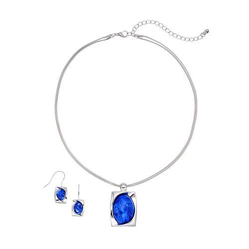 Cabochon Rectangle Pendant Necklace & Drop Earring Set